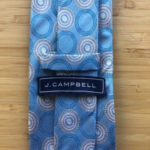 J Campbell Silk Tie In Sky Blue With Tan Detailing